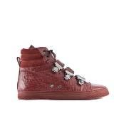 Jean Paul Gaultier高缇耶酒红色皮革平底鞋