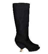 Marni黑色木质弯跟靴