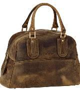 Longchamp珑骧咖色皮革手提包
