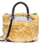 2012 MARNI冬季新款黄色绒毛手拎包