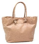 MANGO裸色皮革购物包