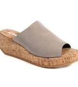 DKNY鱼嘴木纹坡跟拖鞋