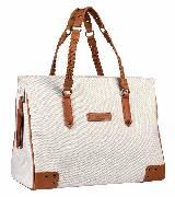 Kate Moss for Longchamp编带饰白色帆布肩包