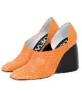 Loewe罗意威橘黄色坡跟鞋