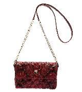 Marc Jacobs枣红色蟒蛇印花链条包