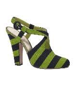 普拉达Prada黑绿条纹复古高跟凉鞋