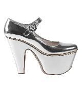 普拉达Prada银色厚底高跟鞋