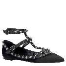 Valentino华伦天奴NOIR系列黑色皮毛平底罗马鞋
