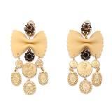 Dolce & Gabbana金色铜牌蝴蝶结耳环