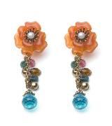 MANGO橘色花朵耳环