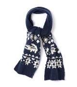 LACOSTE法国鳄鱼深蓝色花纹针织围巾