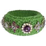 Moschino绿色编织彩色宝石手镯