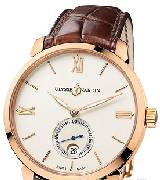 雅典表(UIysse Nardin)CLASSICO鎏金腕表 8156-111-2/92 小秒盘带日期