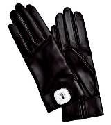 Longchamp珑骧黑色皮革手套