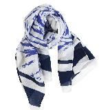 Kookai蔻凯蓝色水墨感印花长款围巾