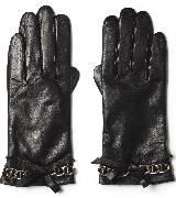 Michael Kors 2012假日系列黑色链条皮手套