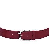 Longchamp珑骧酒红色小牛皮腰带