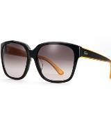 LACOSTE法国鳄鱼L!VE黑黄色猫眼型眼镜