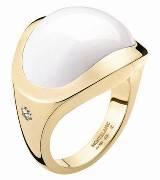 万宝龙18K玫瑰金镶白玛瑙戒指