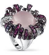 德米亚尼Damiani紫色钻石花朵戒指