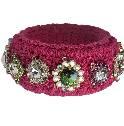 Moschino玫瑰色编织彩色宝石手镯
