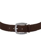 Longchamp珑骧深咖色金属扣小牛皮腰带