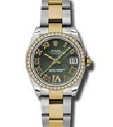 劳力士(Rolex)日志型178383 绿色镶钻