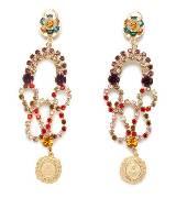 Dolce & Gabbana彩色水钻金牌耳环