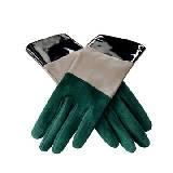 Roger vivier绿米黑拼色麂皮手套