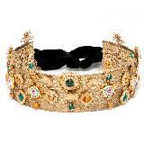 Dolce & Gabbana杜嘉班纳金色奢华花朵宝石头冠