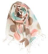 Kookai蔻凯彩色波点印花亚麻围巾