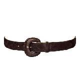 Longchamp珑骧深咖色小牛皮腰带
