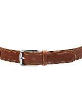 Longchamp珑骧咖色小牛皮腰带