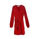 DVF 深红色真丝连衣裙