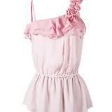 Etam 粉色不规则肩袖荷叶褶饰背心