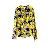 DVF 柠檬黄色印花真丝衬衫