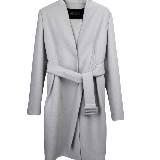 GIADA 浅灰色V领束腰大衣