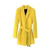 DVF 明黄色腰带羊毛大衣