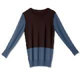 GIADA迦达蓝棕拼色套头羊毛衫