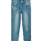 Etam 铆钉饰拉链牛仔七分裤