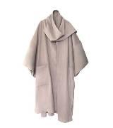 DVF 米色羊毛褶皱大衣