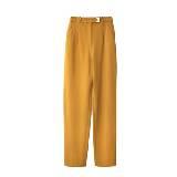 DVF 鹅黄色真丝长裤