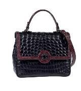 ETRO 黑色皮革蛇皮纹手提包