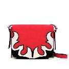 Zara 红色麂皮拼接单肩包