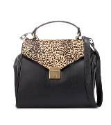 Zara 黑色牛皮豹纹手提包