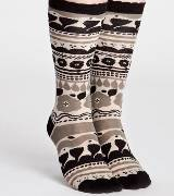 Marimekko 咖色民族图案中长袜