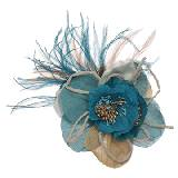 Evita Peroni 蓝色花朵型羽毛装饰时尚胸针