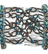 Evita Peroni 孔雀石蓝色珠粒发夹