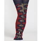 Marimekko 暗红拼色花纹长袜